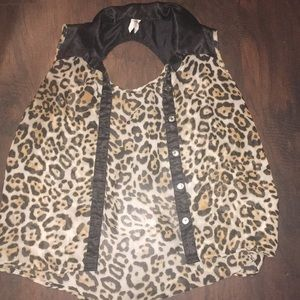 Leopard Print Sheer Blouse
